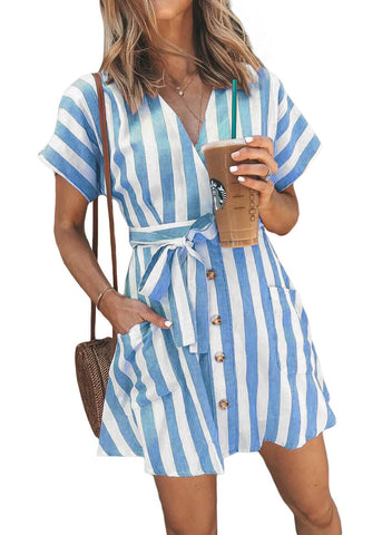 Fashion Stripe Short Sleeve Casual Dress(LC220718-4-1)