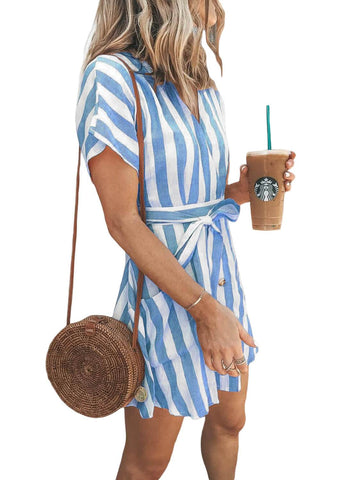 Fashion Stripe Short Sleeve Casual Dress(LC220718-4-2)