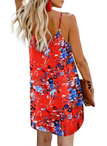 Print Floral button dress (LC220720-14-2)