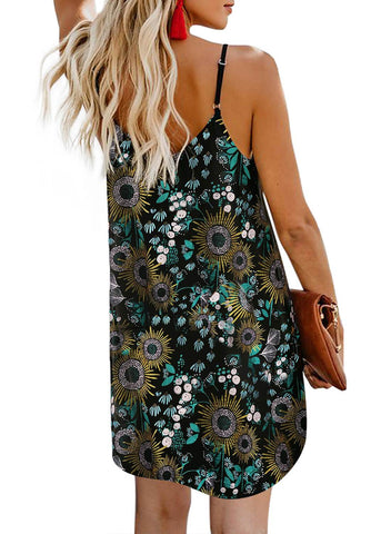 Print Floral button dress (LC220720-2-2)