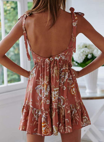 Surpliced V Neck Shoulder Strap Floral Dress(LC220745-14-2)