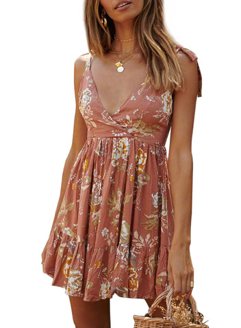 Surpliced V Neck Shoulder Strap Floral Dress(LC220745-14-1)