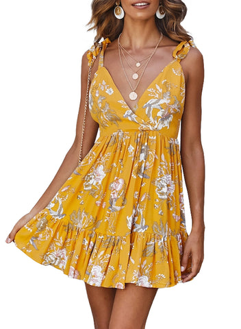 Surpliced V Neck Shoulder Strap Floral Dress(LC220745-7-1)