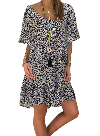 Loose Scoop Neck Floral Dress(LC220753-2-1)