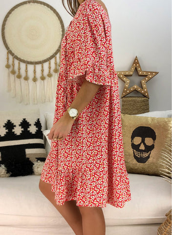 Loose Scoop Neck Floral Dress(LC220753-6-3)