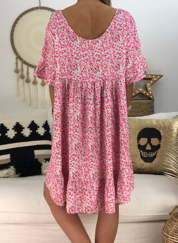 Loose Scoop Neck Floral Dress(LC220753-6-2)