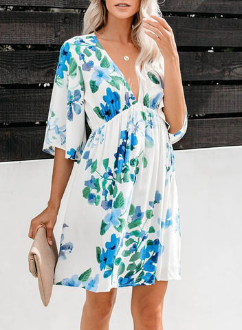 Hawaiian Babydoll Floral Dress(LC220764-4-1)
