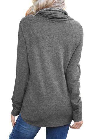 Image of Drawstring Cowl Neck Sweatshirt
