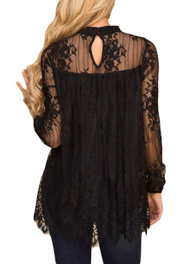 Mesh Sheer Solid Floral Lace Blouse