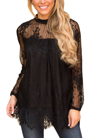 Image of Mesh Sheer Solid Floral Lace Blouse