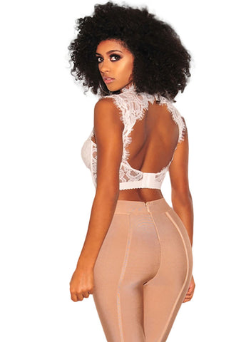 Image of Lace Strappy Bustier Crop Top(LC250934-1-2)