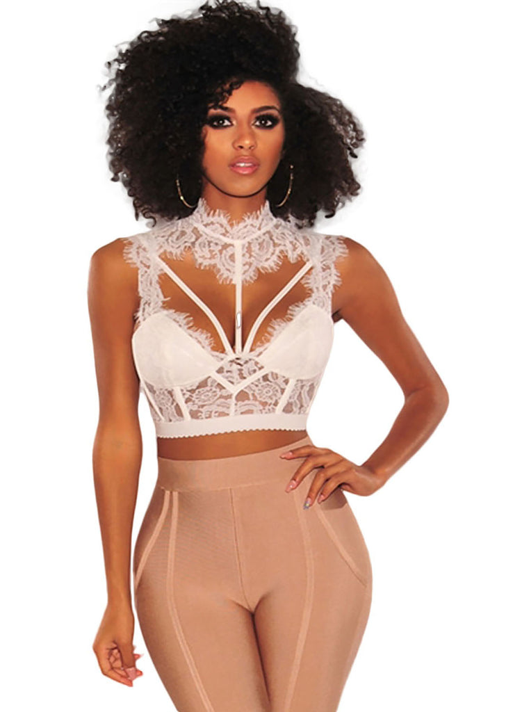 Lace Strappy Bustier Crop Top(LC250934-1-1)