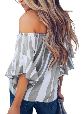 Image of Striped Off Shoulder Bell Sleeve Shirt Tie Knot Casual Blouses Tops