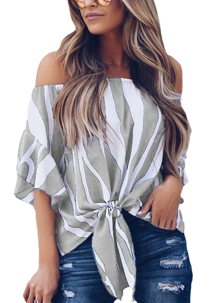 Striped Off Shoulder Bell Sleeve Shirt Tie Knot Casual Blouses Tops