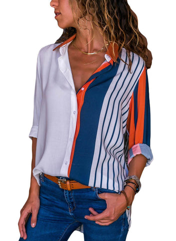Image of Striped Long Sleeve Button Down Shirt
