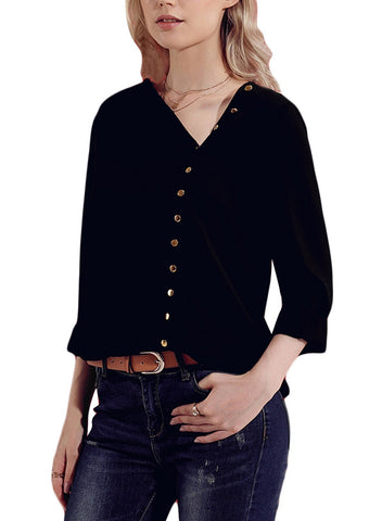 Turndown Collar Asymmetric Blouse