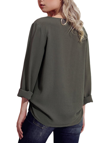 Image of Turndown Collar Asymmetric Blouse