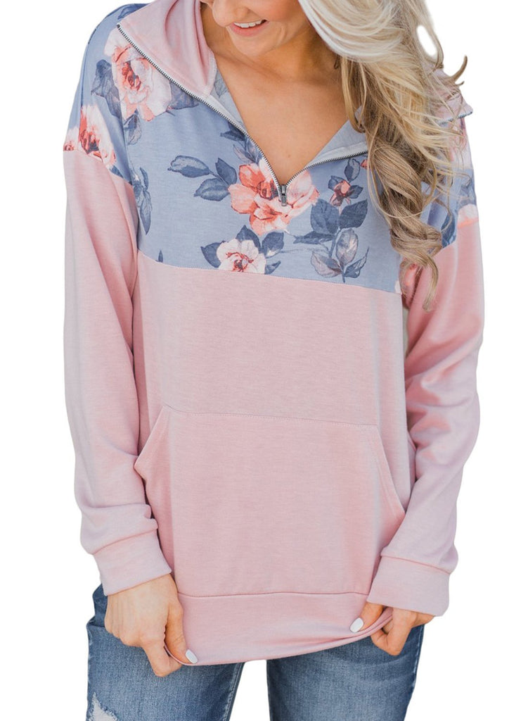 Floral Splice Kangaroo Pocket Zip Collar Sweatshirt