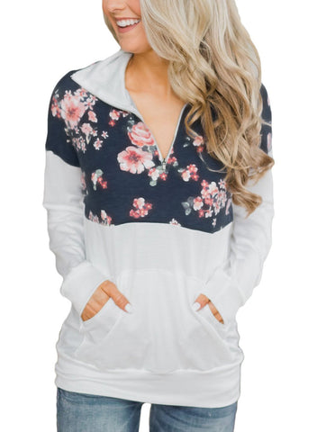Image of Floral Splice Kangaroo Pocket Zip Collar Sweatshirt