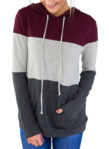 Atop Triple Colorblock Pullover Hoodie