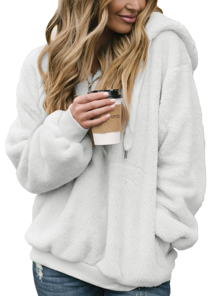 2018 New Furry Hooded Sweatshirt Casual Hoodie