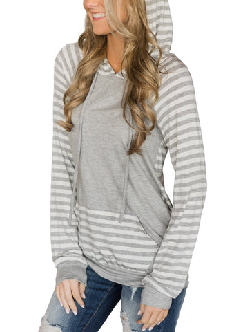 Image of Double Hooded Striped Sweatshirt