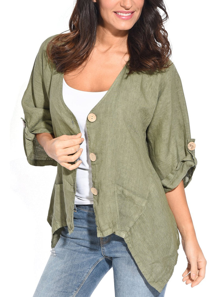 Roll Tab Sleeve Button Front Casual Shirt