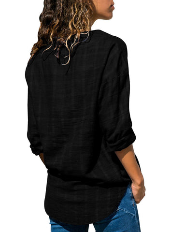 Crepe Plaid Notched Neckline Blouse