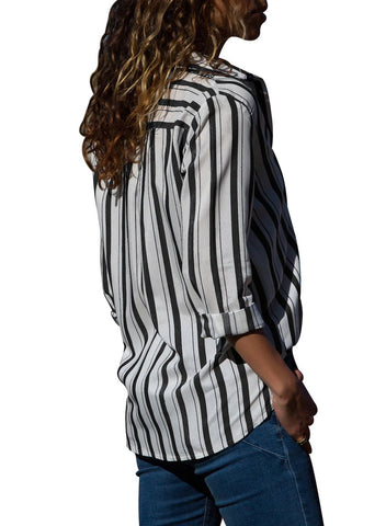 Image of Striped Chest Pocket Button Down Shirt