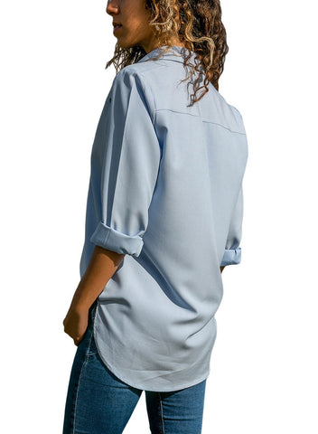 Stylish Button Detail Long Sleeve Blouse