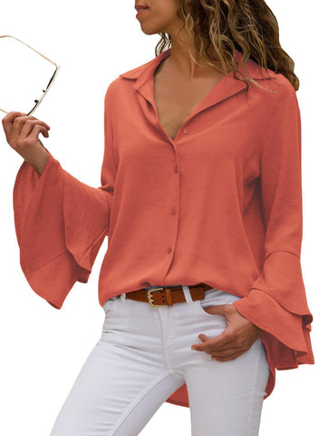 Image of Layered Bell Sleeve Button Down Shirt