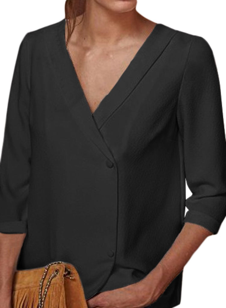 Button Back Lapel V Neck Blouse