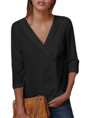 Image of Button Back Lapel V Neck Blouse
