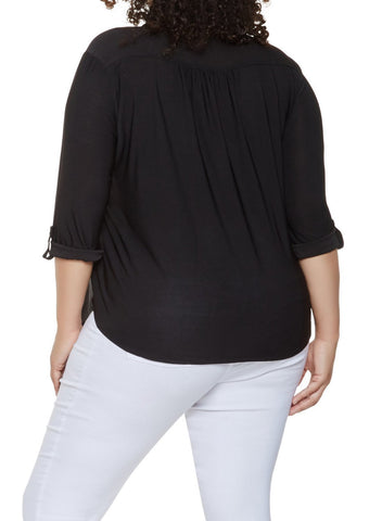 Plus Size Zip Up Pleated Top