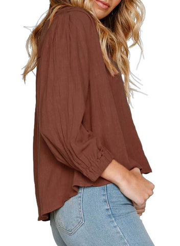 3/4  Sleeve V Neck Chunky Linen Top