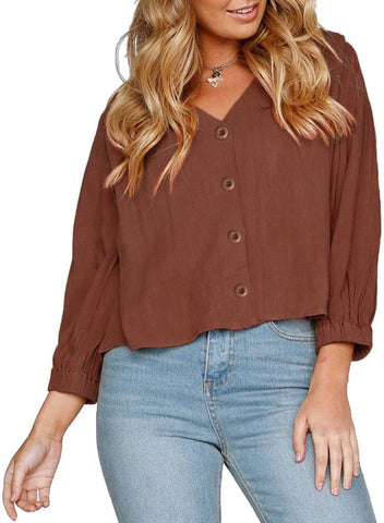 Image of 3/4  Sleeve V Neck Chunky Linen Top