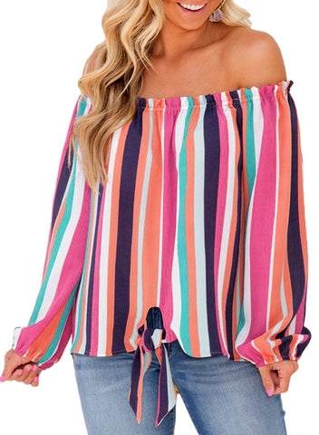 Front Knot Striped Off Shoulder Blouse