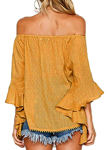 Image of Off Shoulder Ruffle Sleeve Blouse