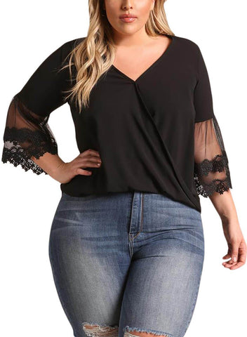 Tulle Embroidered Bell Sleeve Plus Size Blouse