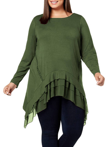Image of Sheer Ruffled Splice Plus Size Top