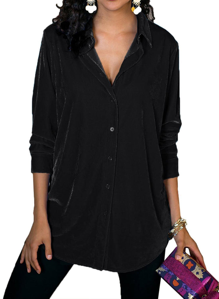 Velvet Loose Button-down Shirt (LC251735-2-1)