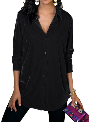 Image of Velvet Loose Button-down Shirt (LC251735-2-1)