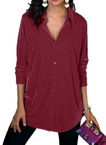 Image of Velvet Loose Button-down Shirt (LC251735-3-1)