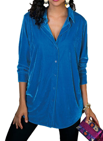 Velvet Loose Button-down Shirt (LC251735-4-1)