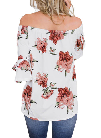 Image of Bring on The Floral Off The Shoulder Top (LC251829-1-2)