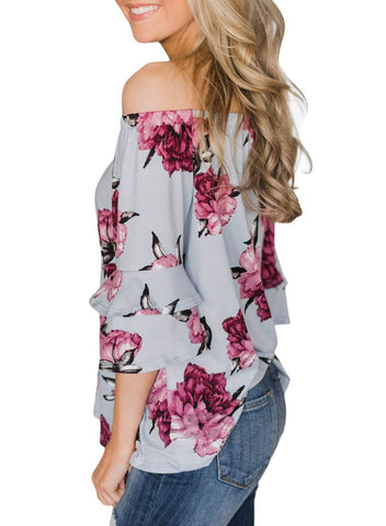 Image of Bring on The Floral Off The Shoulder Top (LC251829-11-3)