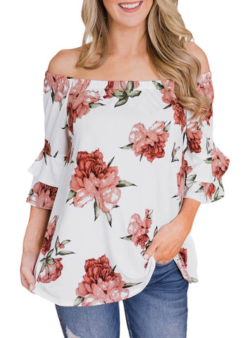 Image of Bring on The Floral Off The Shoulder Top (LC251829-1-1)