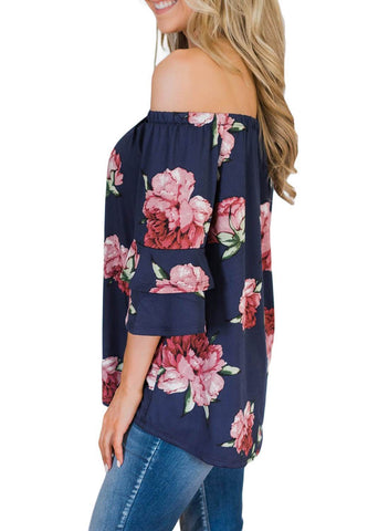 Image of Bring on The Floral Off The Shoulder Top (LC251829-5-3)