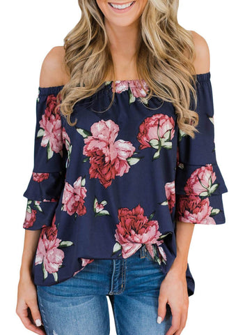 Bring on The Floral Off The Shoulder Top (LC251829-5-1)