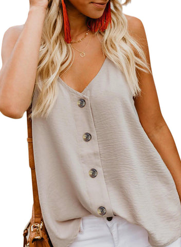 Simple V Neck Tank Top (LC251835-18-1)